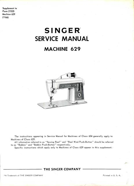 sewing machine manuals sewing manuals singer 629 and 604 sewing